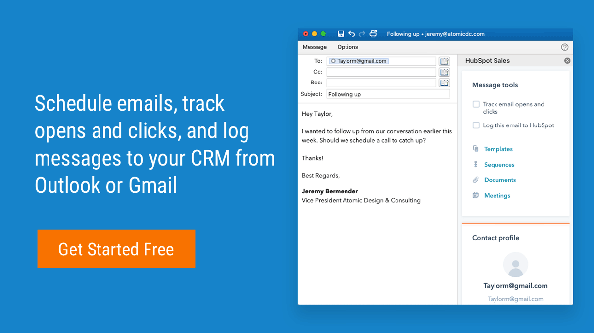 Outlook / Gmail integration with HubSpot