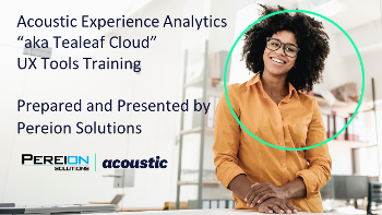 Acoustic Experience Analytics (Tealeaf) UX Tools Training