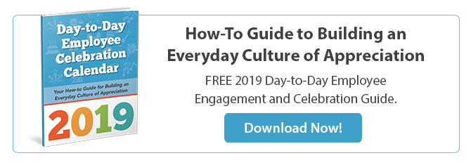 2019 Employee Celebration Calendar - Free Download from gThankYou Employee Gifts. Check out February for fun ideas for celebrating Valentine's Day in the workplace!