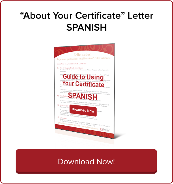 Download Spanish Language Guide to gThankYou Gift Certificates Now