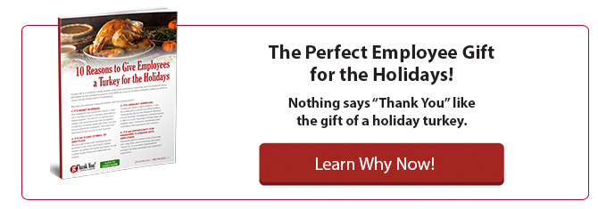 "Download your free copy of ""10 Reasons to Give Employees a Turkey for the Holidays"" by gThankYou Employee Gifts"
