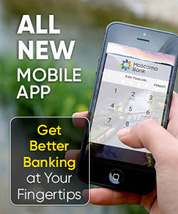 iphone in hand showing login screen to banking app -- ALL NEW Mobile App -- Get Better Banking at Your Fingertips