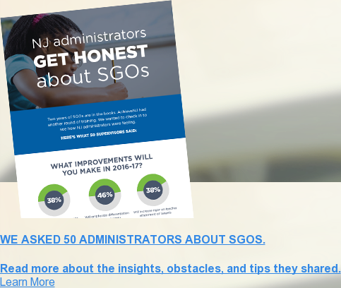 We asked 50 administrators about SGOs.  Read more about the insights, obstacles, and tips they shared. Learn More <>