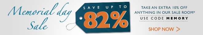 Save up to 82% during our memorial day sale