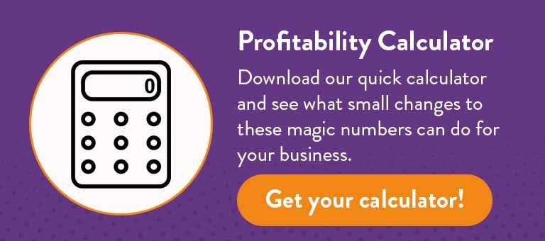 Download our quick calculator and see what small changes to these magic numbers can do for your business. Get your calculator!