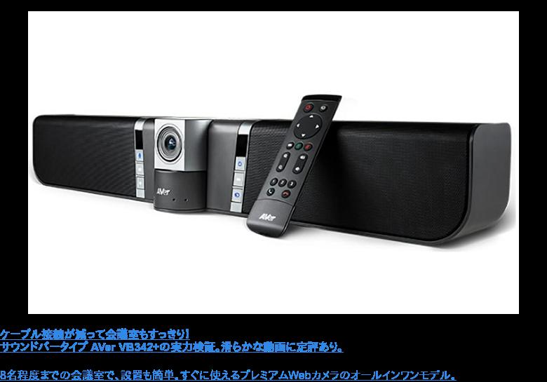 ケーブル接続が減って会議室もすっきり! サウンドバータイプ AVer VB342+の実力検証。滑らかな動画に定評あり。  8名程度までの会議室で、設置も簡単。すぐに使えるプレミアムWebカメラのオールインワンモデル。