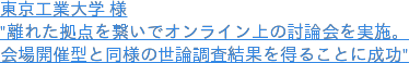 """東京工業大学 様 """"離れた拠点を繋いでオンライン上の討論会を実施。 会場開催型と同様の世論調査結果を得ることに成功"""""""
