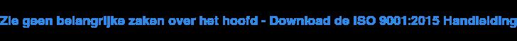 Zie geenbelangrijke zaken over het hoofd - Download de ISO 9001:2015  Handleiding