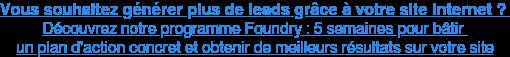Générez plus de leads et développez vos ventes grâce à notre programme Foundry : cliquez ici pour en savoir plus