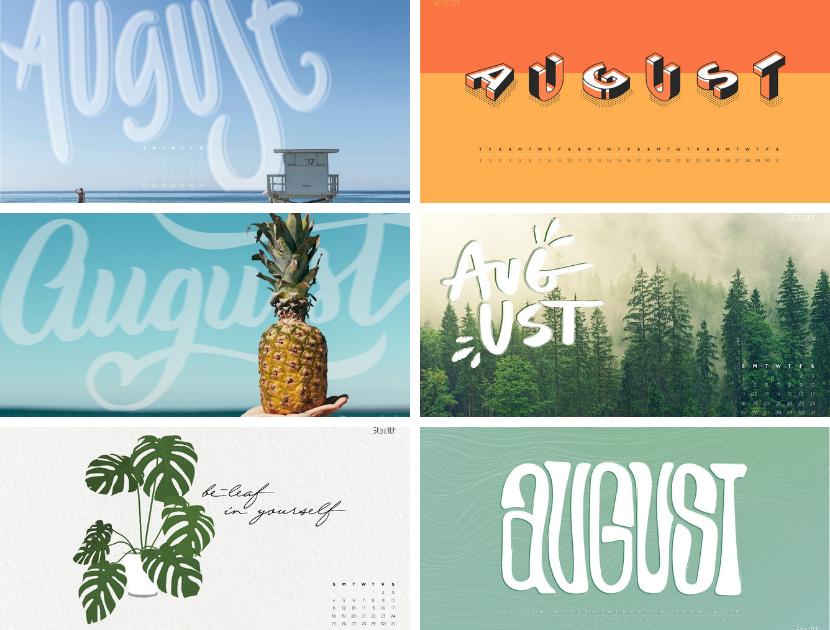 Stealth Creative August Desktop Calendar Backgrounds