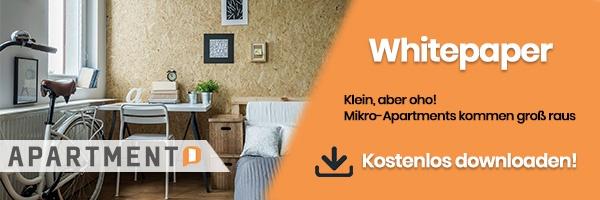 """Jetzt gratis Whitepaper """"Klein, aber oho! Mikro-Apartments kommen groß raus"""" downloaden"""