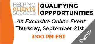 Join us for our Qualifying Opportunities Webinar on September 21st!