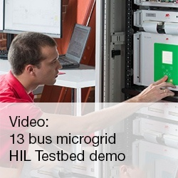 Video: 13 bus microgrid testbed using hardware in the loop