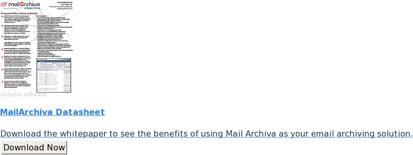 MailArchiva Datasheet  Download the whitepaper to see the benefits of using Mail Archiva as your  email archiving solution. Download Now