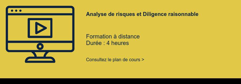 Analyse de risques et Diligence raisonnable   Formation à distance Durée : 4 heures  Consultez le plan de cours >