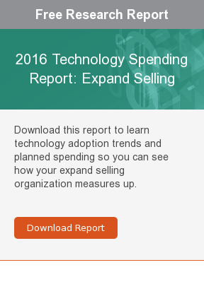 Free Research Report  2016 Technology Spending Report: Expand Selling  Download this report to learn technology adoption trends and planned spending  so you can see how your expand selling organization measures up.     Download Report