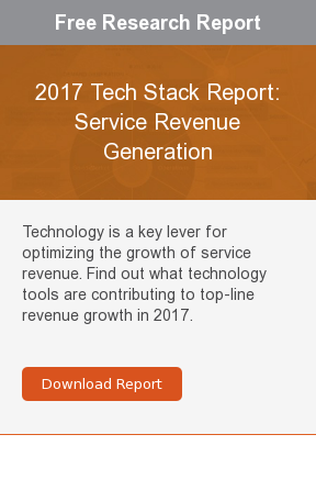 Free Research Report  2017 Tech Stack Report: Service Revenue Generation  Technology is a key lever for optimizing the growth of service revenue. Find  out what technology tools are contributing to top-line revenue growth in 2017.    Download Report