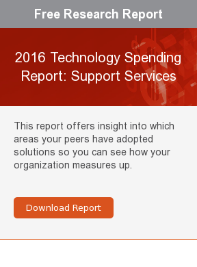 Free Research Report  2016 Technology Spending Report: Support Services  This report offers insight into which areas your peers have adopted solutions  so you can see how your organization measures up.     Download Report