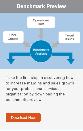 Benchmark Preview  Take the first step in discovering how to increase margins and sales growth  for your professional services organization by downloading the benchmark  preview.     Download Now