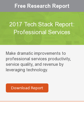 Free Research Report  2017 Tech Stack Report: Professional Services  Make dramatic improvements to professional services productivity, service  quality, and revenue by leveraging technology.     Download Report