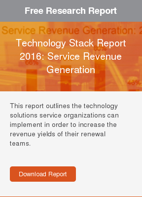 Free Research Report  Technology Stack Report 2016: Service Revenue Generation  This report outlines the technology solutions service organizations can  implement in order to increase the revenue yields of their renewal teams.     Download Report