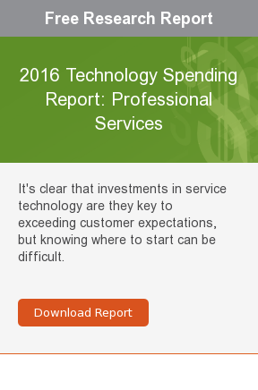Free Research Report  2016 Technology Spending Report: Professional Services  It's clear that investments in service technology are they key to exceeding  customer expectations, but knowing where to start can be difficult.     Download Report