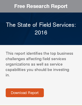 Free Research Report  The State of Field Services: 2016  This report identifies the top business challenges affecting field services  organizations as well as service capabilities you should be investing in.     Download Report