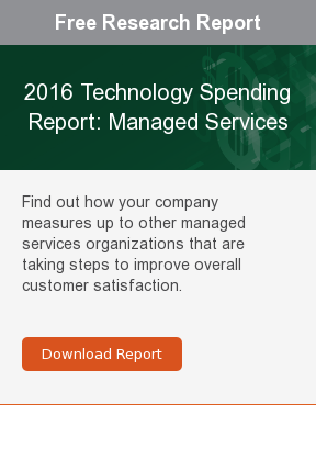 Free Research Report  2016 Technology Spending Report: Managed Services  Find out how your company measures up to other managed services organizations  that are taking steps to improve overall customer satisfaction.     Download Report