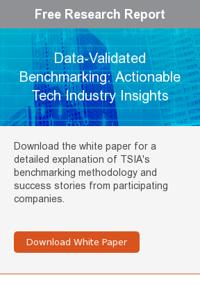 Free Research Report  Data-Validated Benchmarking: Actionable Tech Industry Insights  Download the white paper for a detailed explanation of TSIA's benchmarking  methodology and success stories from participating companies.     Download White Paper