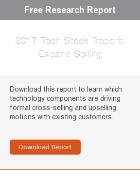 Free Research Report  2017 Tech Stack Report: Expand Selling  Download this report to learn which technology components are driving formal  cross-selling and upselling motions with existing customers.     Download Report