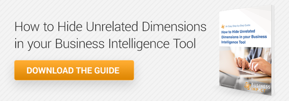 Learn how to hide unrelated dimensions in your business tool