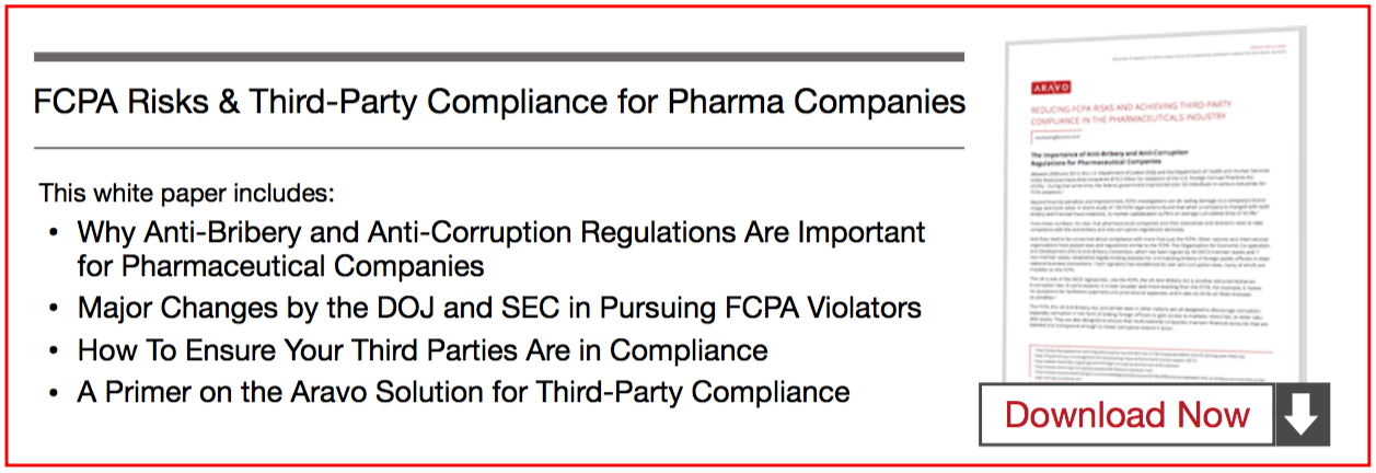 FCPA Risks and Third-Party Compliance for Pharmaceutical Companies - Aravo White Paper