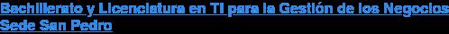 Bachillerato y Licenciatura en TI para la Gestión de los Negocios Sede San Pedro