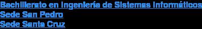 Bachillerato en Ingeniería de Sistemas Informáticos Sede San Pedro Sede Santa Cruz