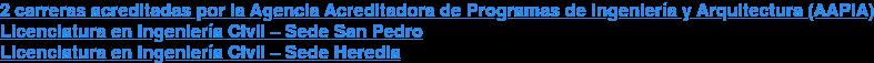 2 carreras acreditadas por la Agencia Acreditadora de Programas de Ingeniería y  Arquitectura (AAPIA) Licenciatura en Ingeniería Civil – Sede San Pedro Licenciatura en Ingeniería Civil – Sede Heredia