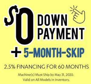 Zero Down + 5 Month Skip - 2.5% Hurco Financing Deal