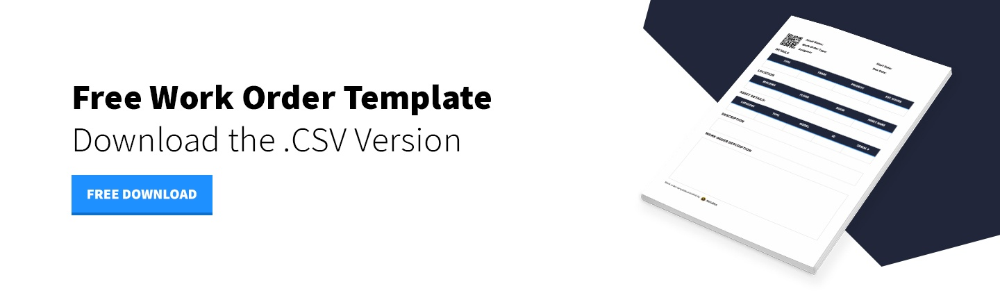 Download Now - Maintenance Work Order Template - CSV Version