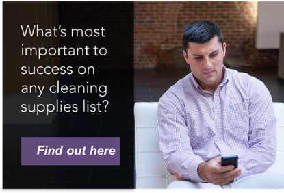 Man checking phone - What's most important to success on any cleaning supplies list