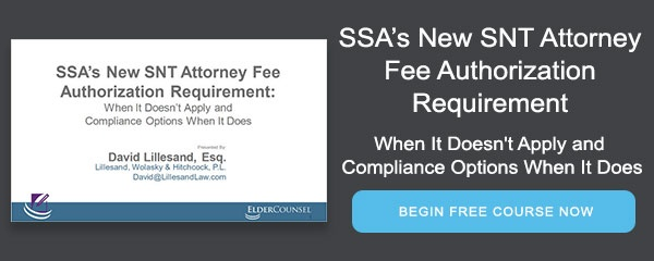 SSA's New SNT Attorney Fee Authorization Requirement