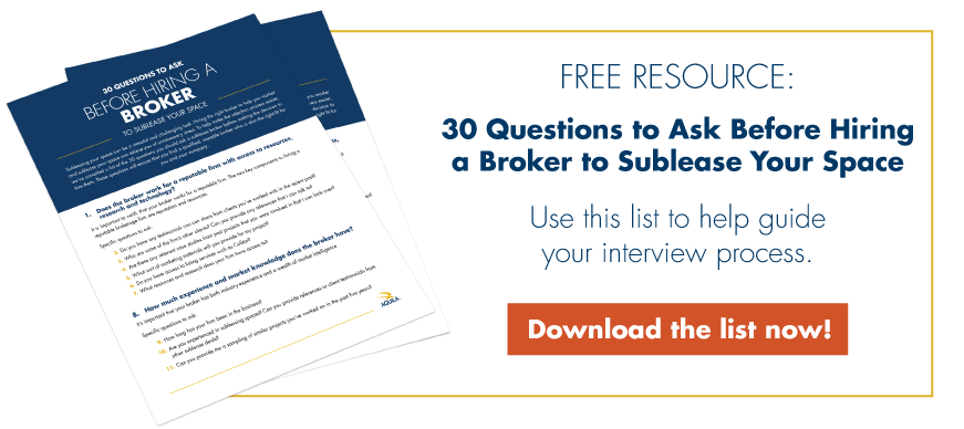 Free Resource: 30 Questions to Ask Before Hiring a Broker to Sublease Your Space