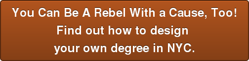 You Can Be A Rebel With a Cause, Too!Find out how to design your own degree in NYC.