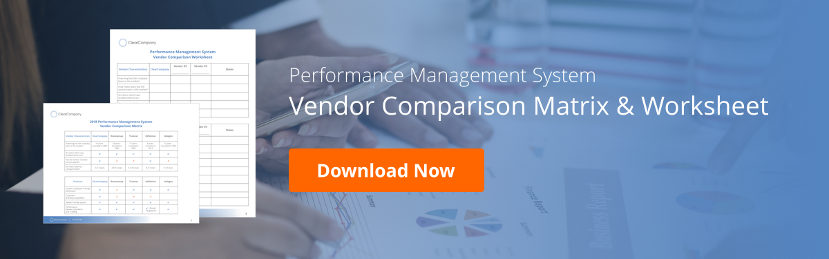 performance management system vendor comparison worksheet documents over graphs