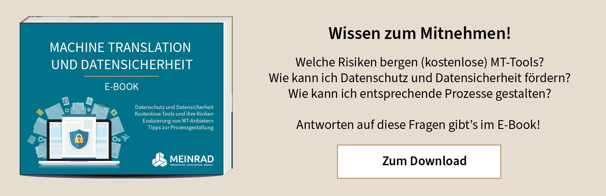 E-Book Machine Translation und Datensicherheit MEINRAD