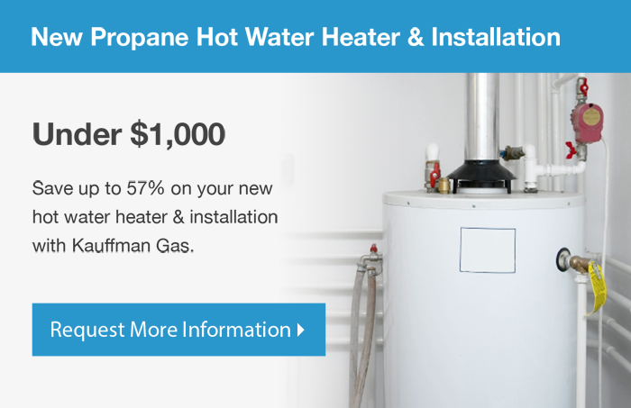 New propane hot water heater installation by Kauffman Gas