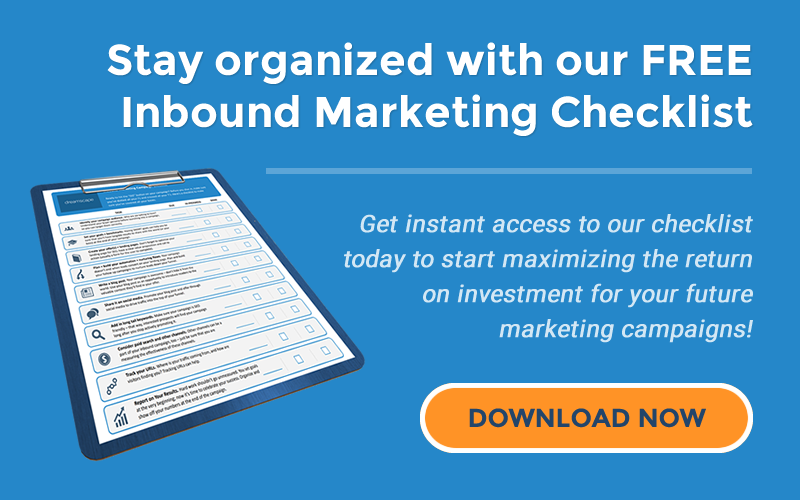 Stay organized with our FREE Inbound Marketing Checklist