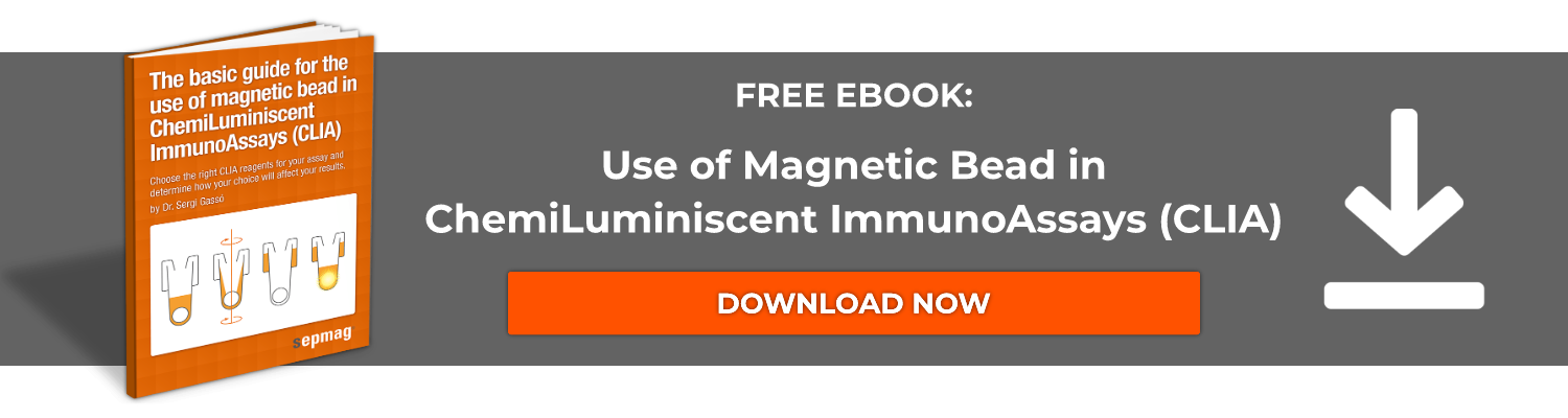 "Free PDF guide:  ""The Basic Guide for the use of Magnetic Bead   in ChemiLuminiscent ImmunoAssays (CLIA)"""