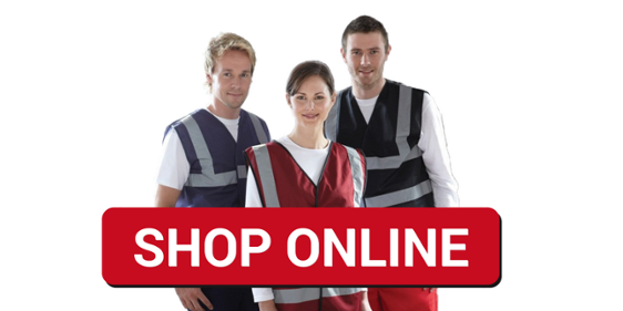 men and woman in hi vis clothing with shop online button