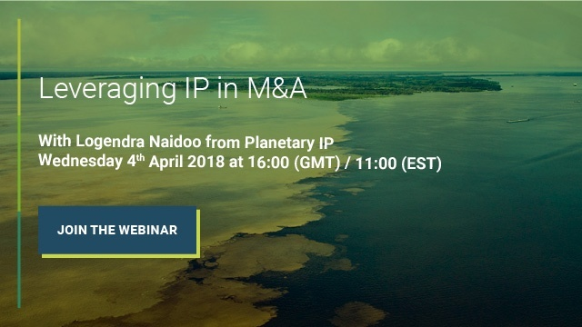 Webinar banner image for leveraging IP in M&A by Planetary IP