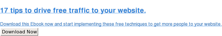 17 tips to drive free traffic to your website.  Download this Ebook now and start implementing these free techniques to get  more people to your website. Download Now