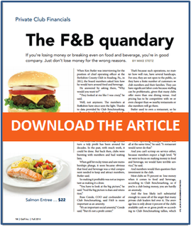 Article About Club Food and Beverage profitability